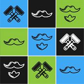 Set Line Crossed Shaving Razor, Mustache And Beard And Mustache Icon. Vector poster