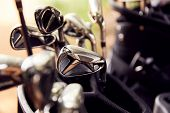 Close Up Of Clubs In Bag On Golf Buggy poster