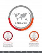 Vector Infographic With Main Circle And 2 Small Circles. Circles With Icons For Two Diagrams, Graph, poster