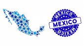 Blue Mexico Map Composition Of Stars, And Scratched Rounded Seal. Abstract Territory Scheme In Blue  poster