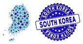Blue South Korea Map Collage Of Stars, And Grunge Rounded Stamp. Abstract Geographic Scheme In Blue  poster