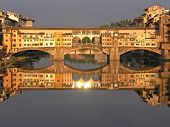 Florence Ponte Vecchio Bridge at sunset