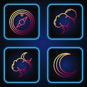 Set Line Moon And Stars, Storm, Wind Rose And Storm. Gradient Color Icons. Vector poster