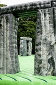 A view through the stones of the life-sized inflatable replica of Stonehenge