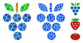Grapes Mosaic Of Round Dots In Different Sizes And Color Tints, Based On Grapes Icon. Vector Round D poster