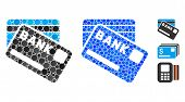 Bank Cards Composition Of Round Dots In Various Sizes And Color Hues, Based On Bank Cards Icon. Vect poster