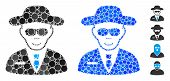 Spy Composition Of Filled Circles In Variable Sizes And Shades, Based On Spy Icon. Vector Filled Cir poster