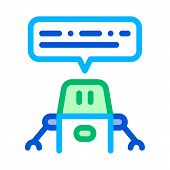Artificial Intelligence Chat Bot Vector Sign Icon Thin Line. Artificial Intelligence Robot Assistanc poster