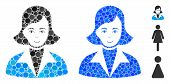 Lady Mosaic Of Circle Elements In Different Sizes And Color Tinges, Based On Lady Icon. Vector Round poster