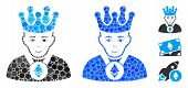 Ethereum Lord Mosaic Of Round Dots In Various Sizes And Color Hues, Based On Ethereum Lord Icon. Vec poster