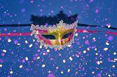 Mardi Gras Carnival Masquerade Mask On Blue Background With Confetti. Venetian Carnival Mardi Gras D poster