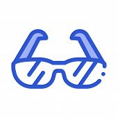 Sport Spectacles Alpinism Equipment Vector Icon Thin Line. Compass And Glasses, Mountain Direction A poster