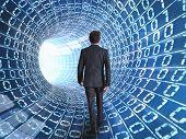 Empresario y Cable de Internet