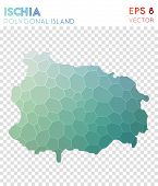 Ischia Polygonal, Mosaic Style Island Map. Superb Low Poly Style, Modern Design For Infographics Or poster