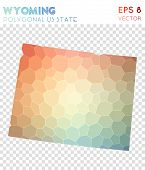Wyoming Polygonal, Mosaic Style Us State Map. Cute Low Poly Style, Modern Design For Infographics Or poster