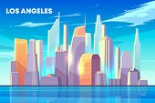 Los Angeles City Skyline With Illuminated By Sun Skyscrapers Buildings On Seashore, Houses Reflectio poster