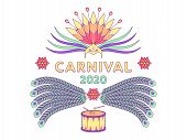 Holiday Poster Carnival 2020. Vector Illustration Of Festival And Carnival In Brazil. Colorful Festi poster