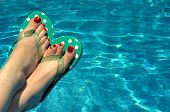 stock photo of painted toes  - This is stress free relaxing pool side - JPG