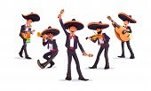Music Band Wearing Mexican Sombrero Hat. Mariachi Singer. Mexican Carnival Musicians. Mariachi Band. poster