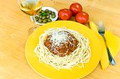 Spaghetti Bolognese With Parmesan Cheese And Red Wine poster