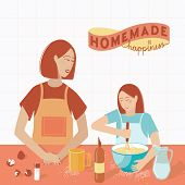 Mom And Daughter Are Preparing Cookies In The Kitchen. The Family Prepares A Home Dish. Lettering Ho poster