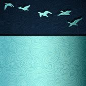Geese flying above lake, vector eps8 illustration