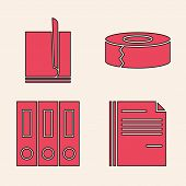 Set File Document, File Document, Scotch And Office Folders With Papers And Documents Icon. Vector poster