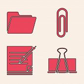 Set Binder Clip, Document Folder, Paper Clip And Blank Notebook And Pen Icon. Vector poster