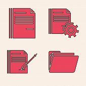 Set Document Folder, File Document, Document Settings With Gears And Blank Notebook And Pen Icon. Ve poster