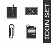 Set File Document And Binder Clip, File Document, Paper Clip And Laptop And Cross Mark On Screen Ico poster
