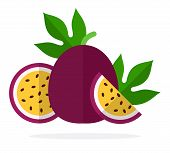 A Whole Fruit Passion Fruit, Half Passion Fruit And A Piece Of Passion Fruit Flat Isolated poster