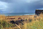 Stormy icelandic landscape on Skardsvik beach in Iceland, Europe poster