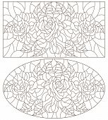 Set Of Contour Illustrations Of Stained Glass Windows With Roses  , Oval And Rectangular Image, Dark poster