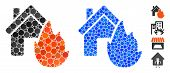 House Fire Disaster Composition Of Round Dots In Various Sizes And Color Tinges, Based On House Fire poster