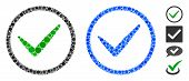 Ok Tick Composition Of Round Dots In Different Sizes And Shades, Based On Ok Tick Icon. Vector Round poster
