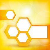 Abstract background with de-focused light dots in shades of yellow and orange with hexagon shapes where you can put your personalized text. EPS10