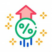 Interest Increase Rise Up Icon Vector. Outline Interest Increase Rise Up Sign. Isolated Contour Symb poster