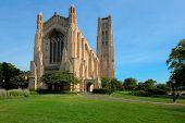 Rockefeller Memorial Chapel on University of Chicago Campus Under Morning Sunlight