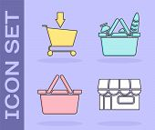 Set Shopping Building Or Market Store, Add To Shopping Cart, Shopping Basket And Shopping Basket And poster