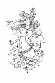 Young Smiling Lord Krishna With A Flute And A Sacred Cow Surrounded By Lotuses. Isolated Outline Ill poster