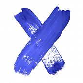 X - Blue handwritten letters over white background