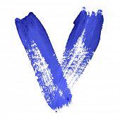 V - Blue handwritten letters over white background