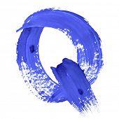 Q - Blue handwritten letters over white background