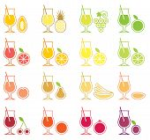 pic of sweet sixteen  - Collection of sixteen icons with fruit juice - JPG
