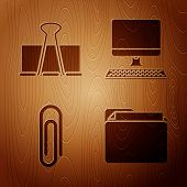 Set Document Folder, Binder Clip, Paper Clip And Computer Monitor With Keyboard On Wooden Background poster