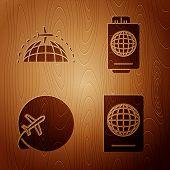 Set Passport With Biometric Data, Globe With Flying Plane, Globe With Flying Plane And Passport With poster
