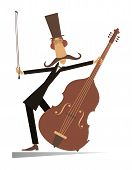Cartoon Long Mustache Cellist Isolated Illustration. Smiling Mustache Man In The Top Hat With Cello  poster