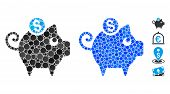 Piggy Bank Composition Of Round Dots In Various Sizes And Color Tinges, Based On Piggy Bank Icon. Ve poster