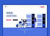 Modern Flat Web Page Design Template Concept Of Web Hosting Decorated People Character poster