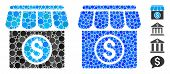 Market Mosaic Of Round Dots In Variable Sizes And Color Tones, Based On Market Icon. Vector Round Do poster